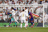 1st March 2020; Estadio Santiago Bernabeu, Madrid, Spain; La Liga Football, Real Madrid versus Club de Futbol Barcelona; Sergio Ramos (Real Madrid) wins the header and puts it towards goal