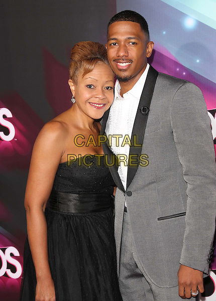 Beth Gardner, Nick Cannon.at the TeenNick HALO Awards held at The Palladium in Hollywood,.California, USA,.November 17th 2012..half length black strapless lapels grey gray suit jacket white shirt goatee facial hair mother mom mum son family .CAP/ADM/KB.©Kevan Brooks/AdMedia/Capital Pictures.