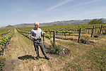California, San Luis Obispo County: Winemaker Harry Hansen at Edna Valley Vineyards, noted for his Chardonnay. Model released..Photo caluis107-71015..Photo copyright Lee Foster, www.fostertravel.com, 510-549-2202, lee@fostertravel.com