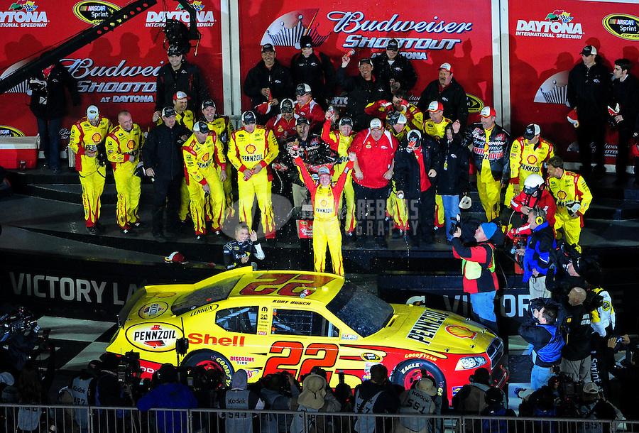Feb 12, 2011; Daytona Beach, FL, USA; NASCAR Sprint Cup Series driver Kurt Busch celebrates after winning the Bud Shootout at Daytona International Speedway. Mandatory Credit: Mark J. Rebilas-