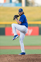 AZL Cubs 1 relief pitcher Dalton Geekie (33) delivers a pitch during an Arizona League playoff game against the AZL Rangers at Sloan Park on August 29, 2018 in Mesa, Arizona. The AZL Cubs 1 defeated the AZL Rangers 8-7. (Zachary Lucy/Four Seam Images)