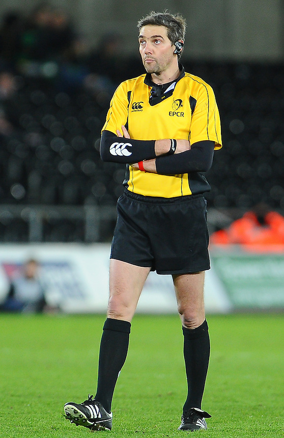 Referee Jerome Garces for todays clash between Ospreys and Northampton Saints<br /> <br /> Photographer Craig Thomas/CameraSport<br /> <br /> Rugby Union - European Rugby Champions Cup - Pool 5 - Ospreys v Northampton Saints - Sunday 18th January 2015 - Liberty Stadium - Swansea<br /> <br /> &copy; CameraSport - 43 Linden Ave. Countesthorpe. Leicester. England. LE8 5PG - Tel: +44 (0) 116 277 4147 - admin@camerasport.com - www.camerasport.com