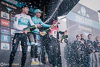 Michael Valgren (DEN/Astana) wins the 2018 Omloop Het Nieuwsblad ahead of Lukasz Wiśniowski (POL/SKY) & Sep Vanmarcke (BEL/Education First-Drapac)<br /> <br /> Gent › Meerbeke: 196km (BELGIUM)