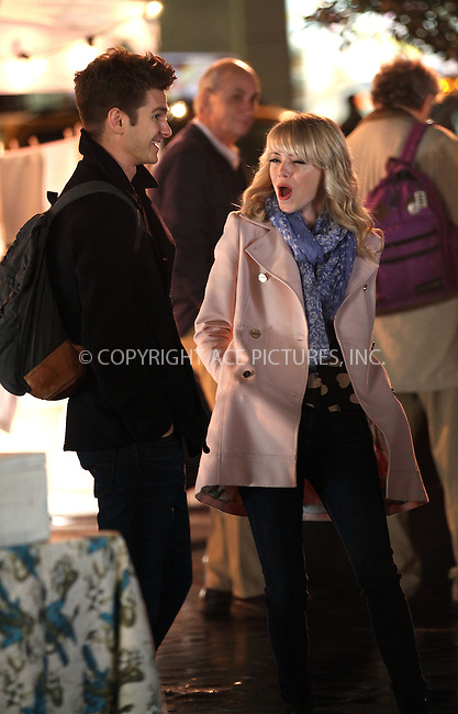 WWW.ACEPIXS.COM......April 16 2013, New York City....Actors Emma Stone and Andrew Garfield on the set of the new movie 'The Amazing Spiderman 2' on April 16 2013, New York City....By Line: Zelig Shaul/ACE Pictures......ACE Pictures, Inc...tel: 646 769 0430..Email: info@acepixs.com..www.acepixs.com