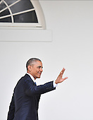 United States President Barak Obama waves as he leaves the White House for the final time as President as the nation prepares for the inauguration of President-elect Donald Trump on January 20, 2017 in Washington, D.C.  Trump becomes the 45th President of the United States.      <br /> Credit: Kevin Dietsch / Pool via CNP