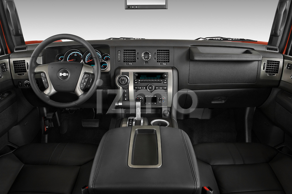 Straight dashboard view of a 2008 Hummer H2 SUT.