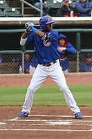 Iowa Cubs outfielder Junior Lake (21) at bat during a Pacific Coast League game against the Colorado Springs Sky Sox on May 11th, 2015 at Principal Park in Des Moines, Iowa.  Colorado Springs defeated Iowa 13-7.  (Brad Krause/Four Seam Images)