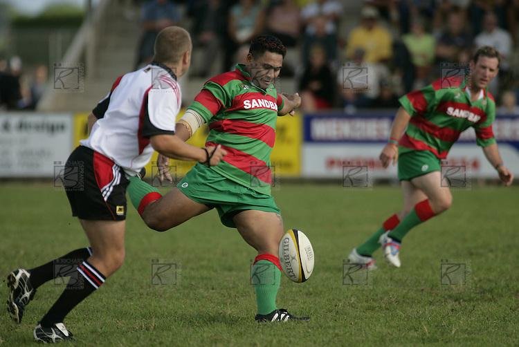 S. Kata takes a dropkick to restart.Counties Manukau Premier Club Rugby, Waiuku vs Patumahoe played at Rugby Park, Waiuku on the 8th of April 2006. Waiuku won 18 - 15