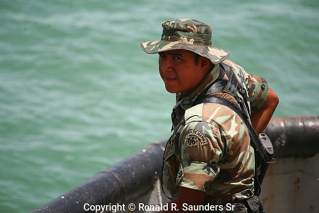 MEXICAN SOLDIER ON SHIP AT NAVY DAY CELEBRATION