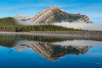 A calm morning on Upper Kananaskis Lake, Peter Lougheed Provincial Park, Alberta, Canada.