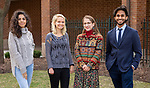 Student recipients of 2018 scholarships and awards, Monday, April 23, 2018, in the Lincoln Park Campus Quad. Left to right, Kunza Shakil, Freeman-Asia Award; Gabby Morse, Fulbright Scholarship; Hajrije Kolimja, Fulbright Scholarship; and Shail Patel, Fulbright Scholarship. (DePaul University/Jeff Carrion)