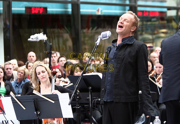 STING (Gordon Matthew Thomas Sumner).Musician Sting performs on NBC's 'Today' at Rockefeller Center New York City, New York, NY, USA..May 14th, 2010.stage concert live gig performance music half length black jacket blue shirt singing.CAP/ADM/PZ.©Paul Zimmerman/AdMedia/Capital Pictures.
