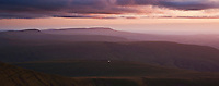Sunset view from Pen Y Fan east towards Black Mountain and Brecon Beacons national park, Wales