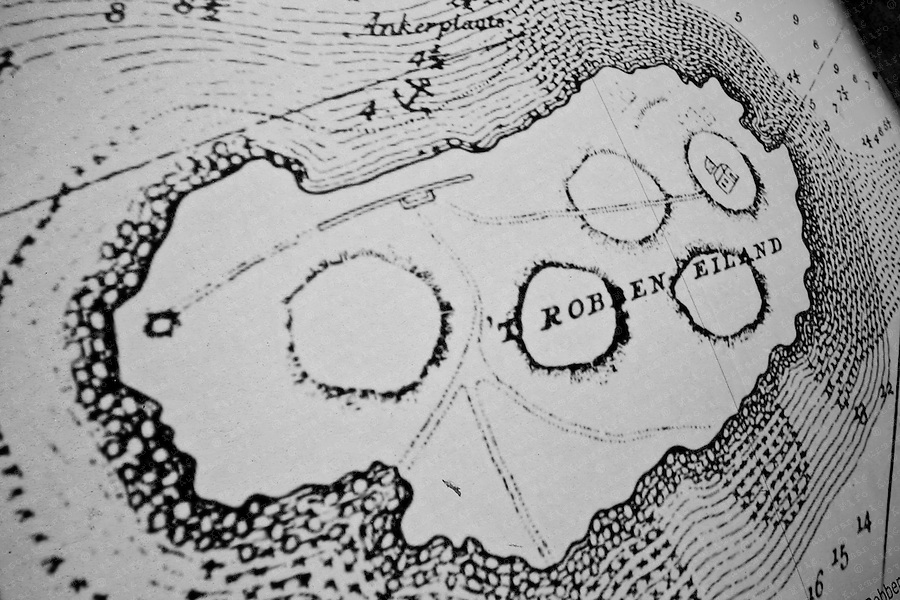 A old map of Robben Island, South Africa, March 16, 2011. Former ANC president and Nobel Peace Prize winner Nelson Mandela spent much of his 27-year imprisonment on Robben Island..