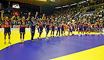 Serbian national handball team players celebrate after EHF EURO 2012 handball championship game Serbia vs Poland in Belgrade, Serbia, Sunday, January 15, 2011.  (photo: Pedja Milosavljevic / thepedja@gmail.com / +381641260959)
