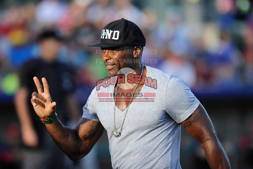 Former Major Leaguer Reggie Sanders was on hand to promote his charity before a game between the Potomac Nationals and the Myrtle Beach Pelicans on Friday, August 9, 2013, at TicketReturn.com Field in Myrtle Beach, South Carolina. Myrtle Beach won, 3-2. (Tom Priddy/Four Seam Images)