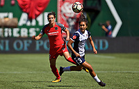 Portland, OR - Saturday September 02, 2017: Crystal Thomas, Christine Sinclair during a regular season National Women's Soccer League (NWSL) match between the Portland Thorns FC and the Washington Spirit at Providence Park.