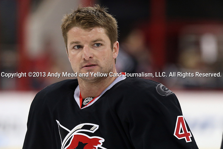 06 April 2013: Carolina's Marc-Andre Bergeron. The Carolina Hurricanes played the New York Rangers at the PNC Arena in Raleigh, North Carolina in a 2012-2013 National Hockey League regular season game. New York won the game 4-1.