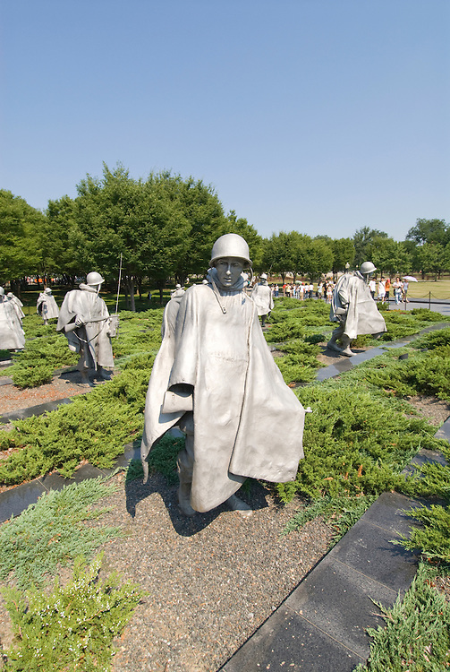 Washington DC; USA: The Korean War Veterans Memorial.  The statues of soldiers in a platoon march warily across a field..Photo copyright Lee Foster Photo # 9-washdc83277