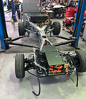 BNPS.co.uk (01202 558833)<br /> Pic: Castleman/BNPS<br /> <br /> Ground up restoration - the Tesla batteries are fitted to the stripped back chassis.