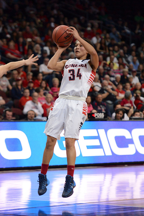 March 7, 2014; Las Vegas, NV, USA; Gonzaga Bulldogs guard Jazmine Redmon (34) shoots the ball against the San Francisco Dons during the first half of the WCC Basketball Championships at Orleans Arena.