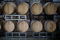 Wine barrels sit in the production facility during Oliver Winery's Harvest Wine Festival on Saturday, Sept.. 25, 2014. (Photo by James Brosher)