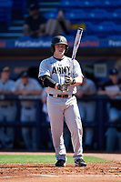 Army West Point Matt Hudgins (5) at bat during a game against the Michigan Wolverines on February 17, 2018 at First Data Field in St. Lucie, Florida.  Army defeated Michigan 4-3.  (Mike Janes/Four Seam Images)