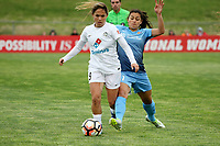 Piscataway, NJ - Sunday April 30, 2017: Lo'eau LaBonta, Raquel Rodriguez during a regular season National Women's Soccer League (NWSL) match between Sky Blue FC and FC Kansas City at Yurcak Field.