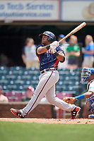 Rome Braves catcher Carlos Martinez (19) follows through on a swing during a game against the Lexington Legends on May 23, 2018 at Whitaker Bank Ballpark in Lexington, Kentucky.  Rome defeated Lexington 4-1.  (Mike Janes/Four Seam Images)