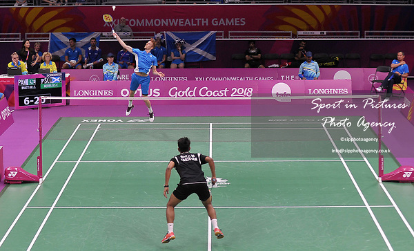 Kieran MERRILEES (SCO) in the mens singles]. Badminton. Mixed team event. XXI Commonwealth games. Carrara Sports hall 2. Gold Coast 2018. Queensland. Australia. 05/04/2018. ~ MANDATORY CREDIT Garry Bowden/SIPPA - NO UNAUTHORISED USE - +44 7837 394578
