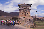 China, an ancient tower at the Dali Bai Autonomous Prefecture, Yunnan Province