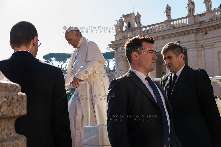 Vatican City, Vatican, March 29, 2017. Pope Francis arrives in Saint Peter Square for his weekly general audience, at the Vatican.