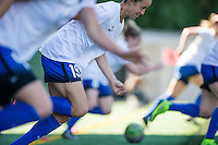 Seattle, WA - Sunday, May 1, 2016: Seattle Reign FC midfielder Havana Solaun (19) sprints during warm-ups prior to a National Women's Soccer League (NWSL) match at Memorial Stadium. Seattle won 1-0.
