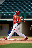 Canadian Junior National Team Austin Gomm (27) follows through on a swing during a Florida Instructional League game against the Atlanta Braves on October 9, 2018 at the ESPN Wide World of Sports Complex in Orlando, Florida.  (Mike Janes/Four Seam Images)