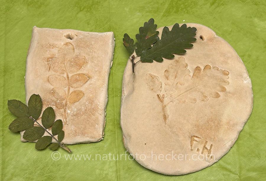 Kinder basteln Blattkacheln aus Salzteig, Salzteig mit Abdruck vom Eichenblatt und vom Rosenblatt nach dem Brennen