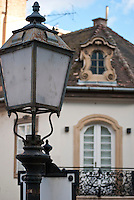 Budapest street, with a close up of a street lamp