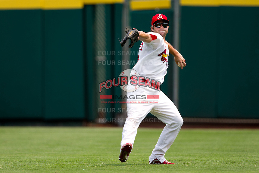 Chris Swauger (8) of the Springfield Cardinals throws a ball back into the infield during a game against the Tulsa Drillers at Hammons Field on June 27, 2011 in Springfield, Missouri. (David Welker / Four Seam Images)