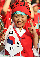 Korea Republic fan. The Korea Republic and France played to a 1-1 tie in their FIFA World Cup Group G match at the Zentralstadion, Leipzig, Germany, June 18, 2006.