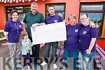 Cheque Presentation: Christy Walsh presenting a cheque for €2.800.00 to members of the Cystic Fibrosis organization  the proceeds from a coffee morning and a barbeque  held on the 6th June. L-R : Emma & Brianne batten, Christy Walsh, John McGarry & Sue & Sarah Ashford.