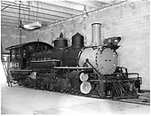 right front view of D&amp;RGW #463 K-27 in engine house at Antonito.<br /> D&amp;RGW  Antonito, CO  Taken by Payne, Andy M. - 3/1/1975