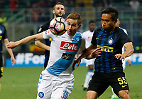 Marko Rog and Yuto Nagamoto  during the  italian serie a soccer match,between Inter FC  and SSC Napoli      at  the San Siro   stadium in Milan  Italy , April  30, 2017