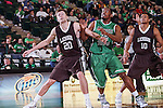 Lehigh Mountain Hawks forward Holden Greiner (20) and North Texas Mean Green guard Roger Franklin (32) in action during the game between the Lehigh Mountain Hawks and the North Texas Mean Green at the Super Pit arena in Denton, Texas. Lehigh defeats UNT 90 to 75...