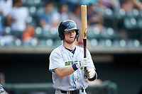 Mitch Reeves (15) of the Lynchburg Hillcats steps up to the plate during the game against the Winston-Salem Dash at BB&T Ballpark on August 1, 2019 in Winston-Salem, North Carolina. The Dash defeated the Hillcats 9-7. (Brian Westerholt/Four Seam Images)