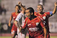 ATENÇÃO EDITORES FOTO EMBARGADA PARA VEÍCULOS INTERNACIONAL - ESPORTES - FUTEBOL - CAMPEONATO PAULISTA A2 2013 - SÃO PAULO, 13 DE MARÇO DE 2013 - PORTUGUESA X  AE VELO CLUBE  Ivan comemora após marcar seu gol  durante partida entre a equipe do AE Velo Clube, válida pela 15ª rodada do campeonato Paulista A2, no estádio Benedito Angelo Castelano, nesta quarta (13) as 20hs na cidade de Rio Claro, no interior do estado de SÃO PAULO. FOTOS: DORIVAL ROSA/ BRAZIL PHOTO PRESS