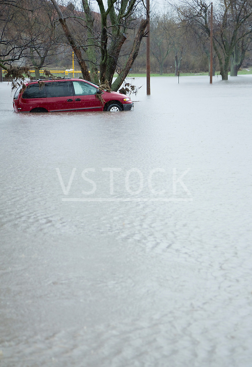 Car in flooded street