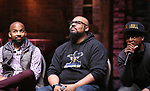 "Antuan Magic Raimone, James Monroe Iglehart and J. Quinton Johnson from the 'Hamilton' cast during the Q&A before The Rockefeller Foundation and The Gilder Lehrman Institute of American History sponsored High School student #EduHam matinee performance of ""Hamilton"" at the Richard Rodgers Theatre on June 7, 2017 in New York City."