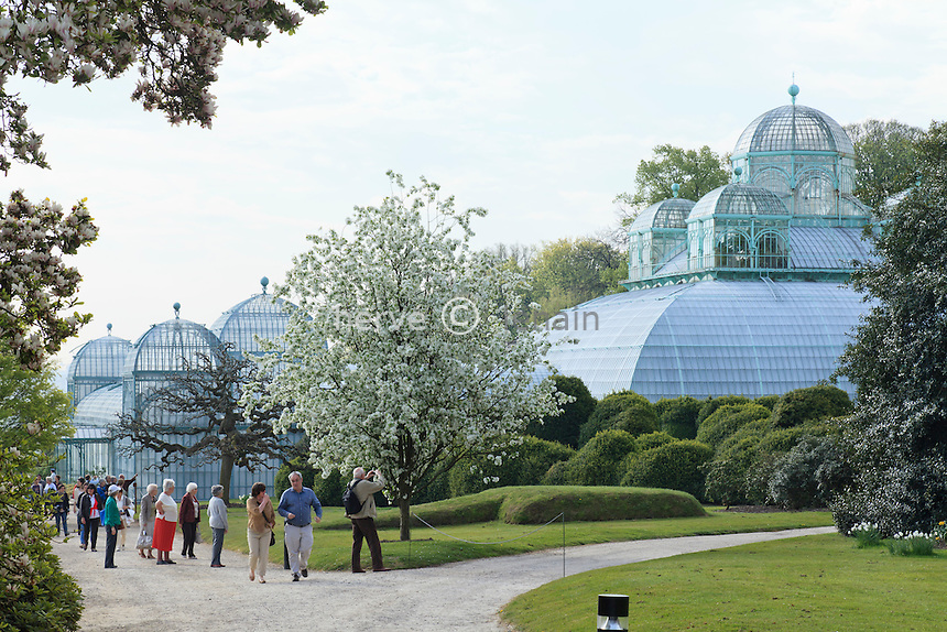 Belgique, Bruxelles, Laeken, le domaine royale du château de Laeken, les serres de Laeken durant la période d'ouverture au public au printemps, l'Embarcadère (gauche)et la serre du Congo (droite) // Belgique, Bruxelles, Laeken, the royal castle domain, the greenhouses of Laeken in spring. The Pier (left) and the Congo greenhouse (right).
