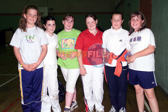 Nicola Reddan, Dunleer, Aoibheann Duffy, Dromin, Suzy McGahon, Dromin, Jane Clarke, Dromin, Carol Mulroy, Dunleer and Sarah Mulroy, Dunleer at the sports induction day in the O'Raghallaigh's..Picture Paul Mohan Newsfile