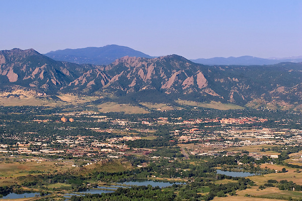 Aerial view from hot air balloon, Boulder, Colorado .  John leads private photo tours in Boulder and throughout Colorado. Year-round Colorado photo tours.