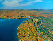 Big Bay, Michigan, Lake Independence, fall color. Huron Mountains in the background. Upper Peninsula of Michigan.